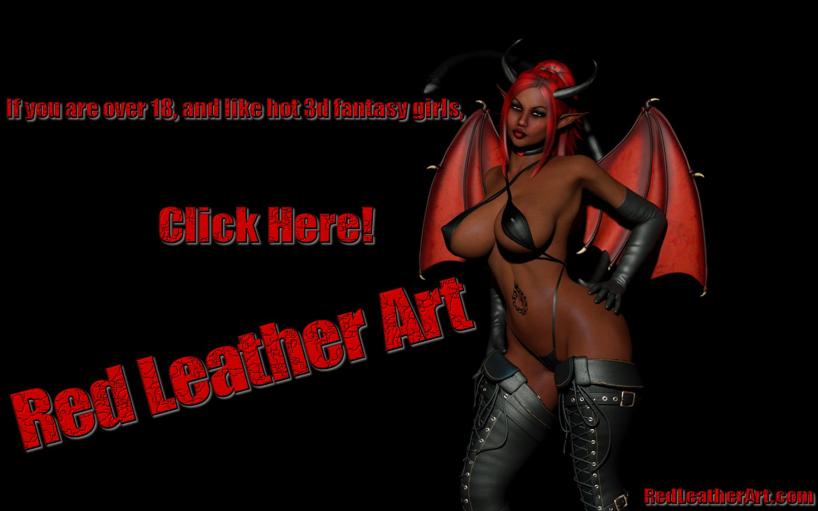 Red Leather Art - Erotic 3d Fantasy Art